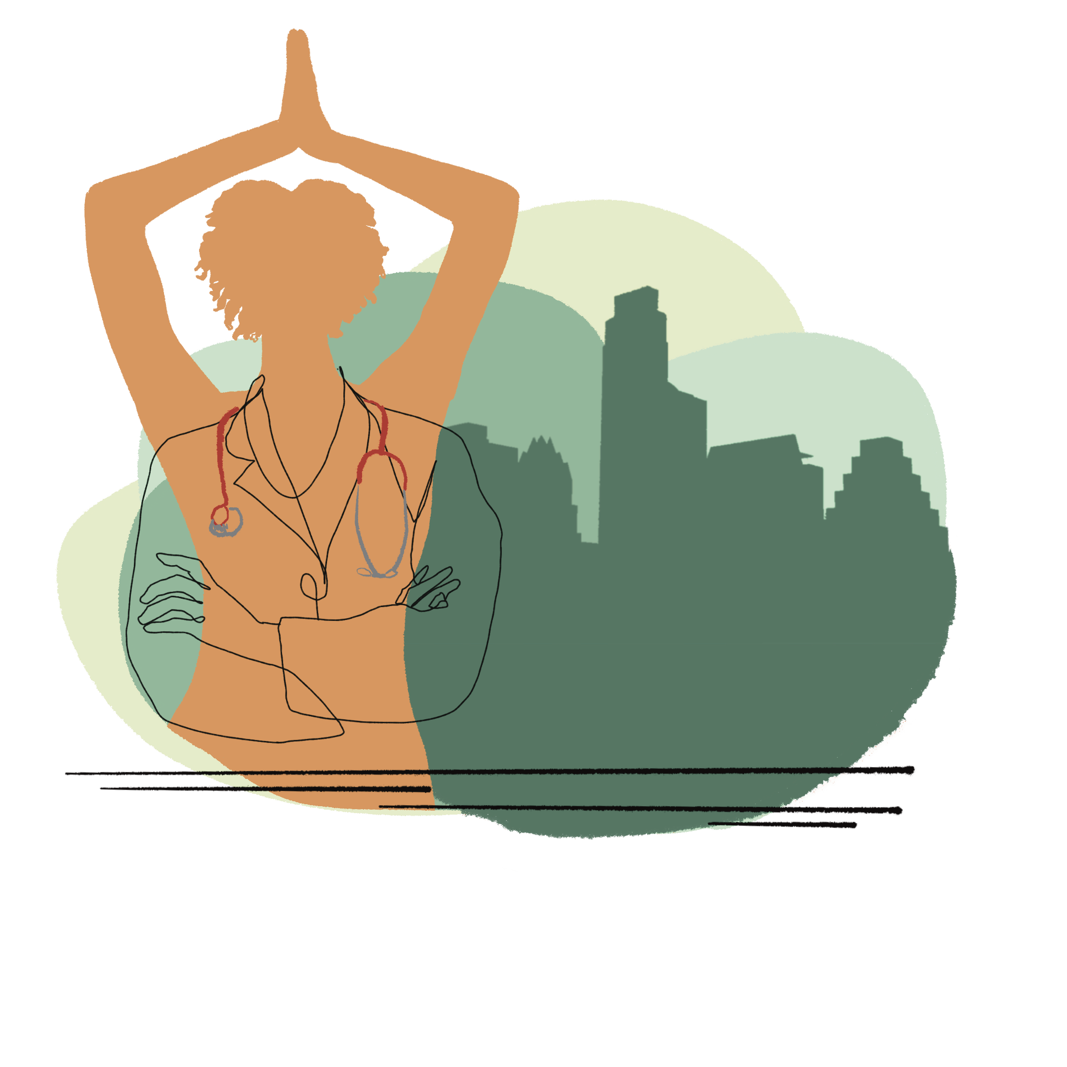 Illustration of a doctor in lotus pose